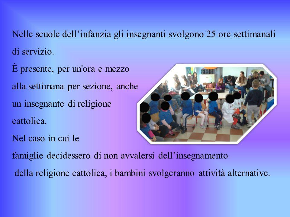 Nelle scuole dell'infanzia gli insegnanti svolgono 25 ore settimanali di servizio.