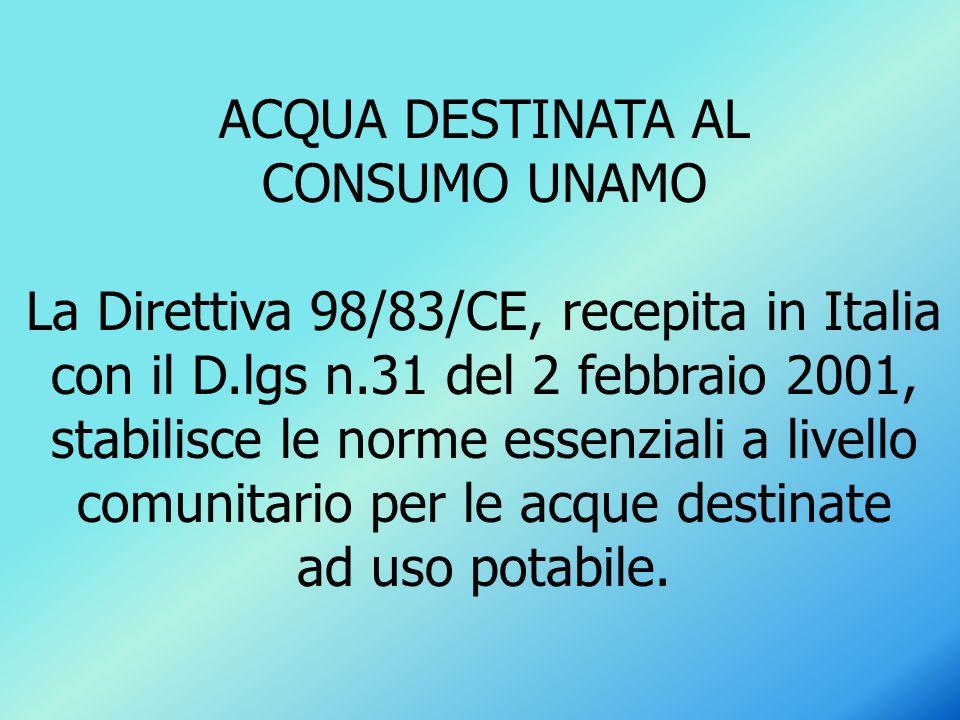 ACQUA DESTINATA AL CONSUMO UNAMO.