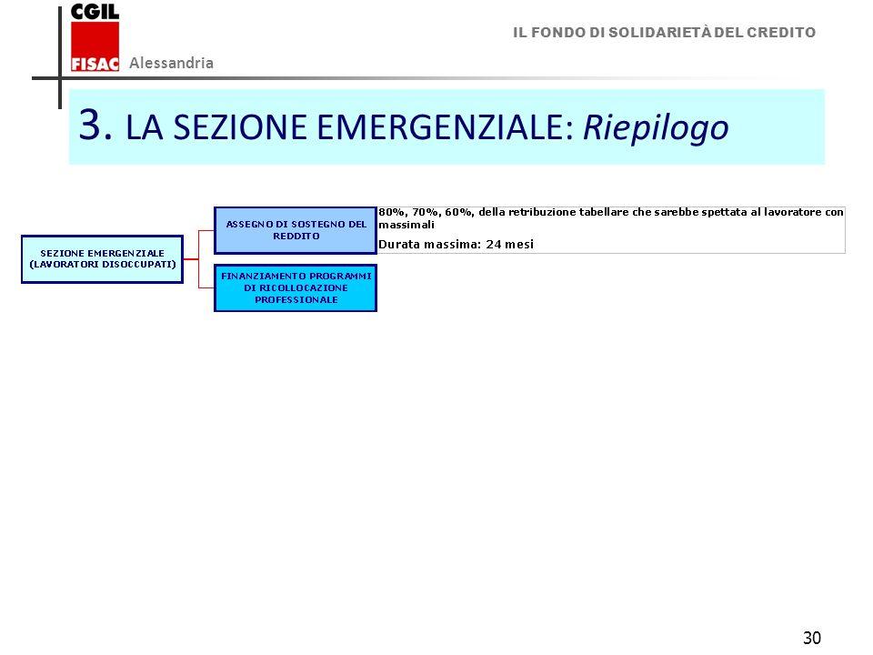 3. LA SEZIONE EMERGENZIALE: Riepilogo