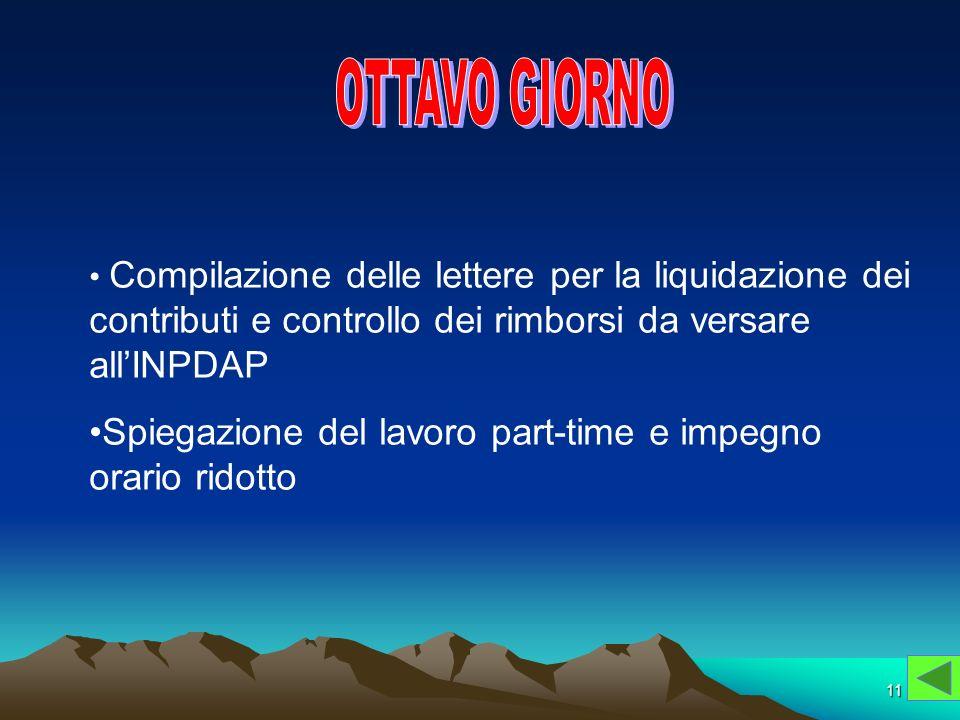 OTTAVO GIORNOCompilazione delle lettere per la liquidazione dei contributi e controllo dei rimborsi da versare all'INPDAP.
