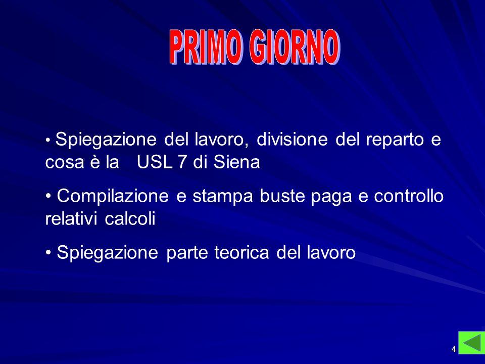 PRIMO GIORNOSpiegazione del lavoro, divisione del reparto e cosa è la USL 7 di Siena.