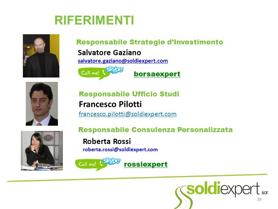 RIFERIMENTI Francesco Pilotti francesco.pilotti@soldiexpert.com