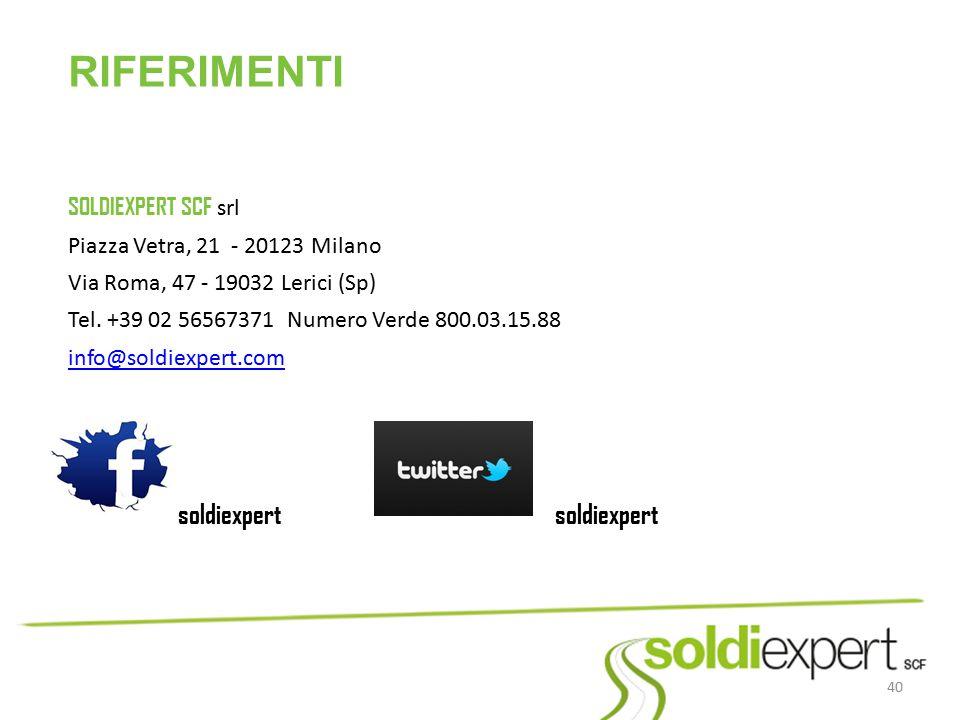 RIFERIMENTI SOLDIEXPERT SCF srl Piazza Vetra, 21 - 20123 Milano