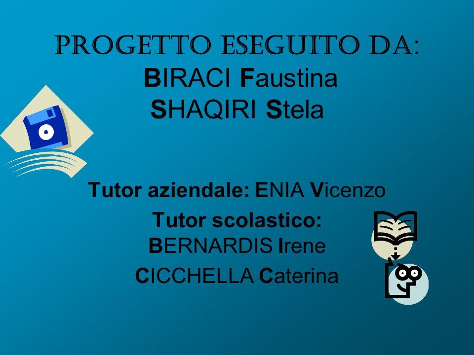Progetto eseguito da: BIRACI Faustina SHAQIRI Stela