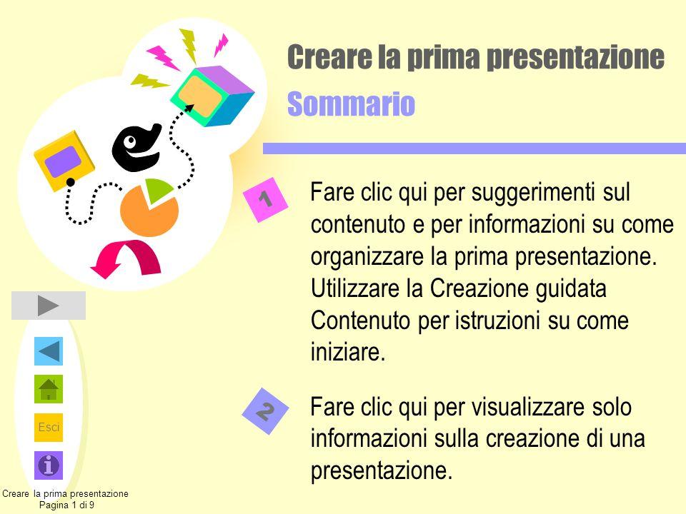 Creare la prima presentazione Sommario