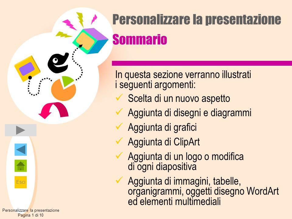Personalizzare la presentazione Sommario