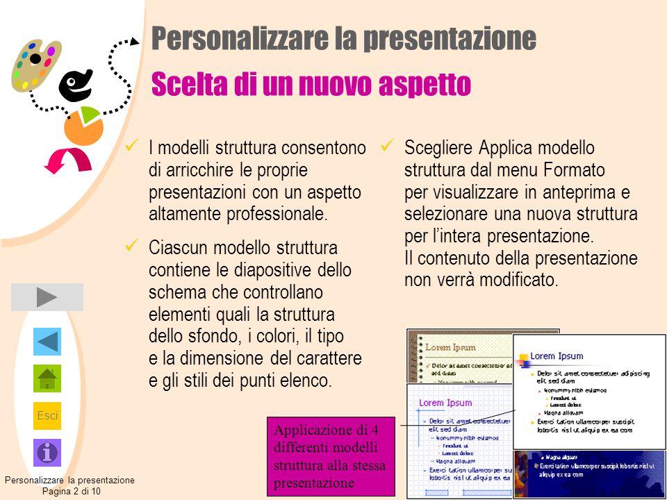 Personalizzare la presentazione Scelta di un nuovo aspetto