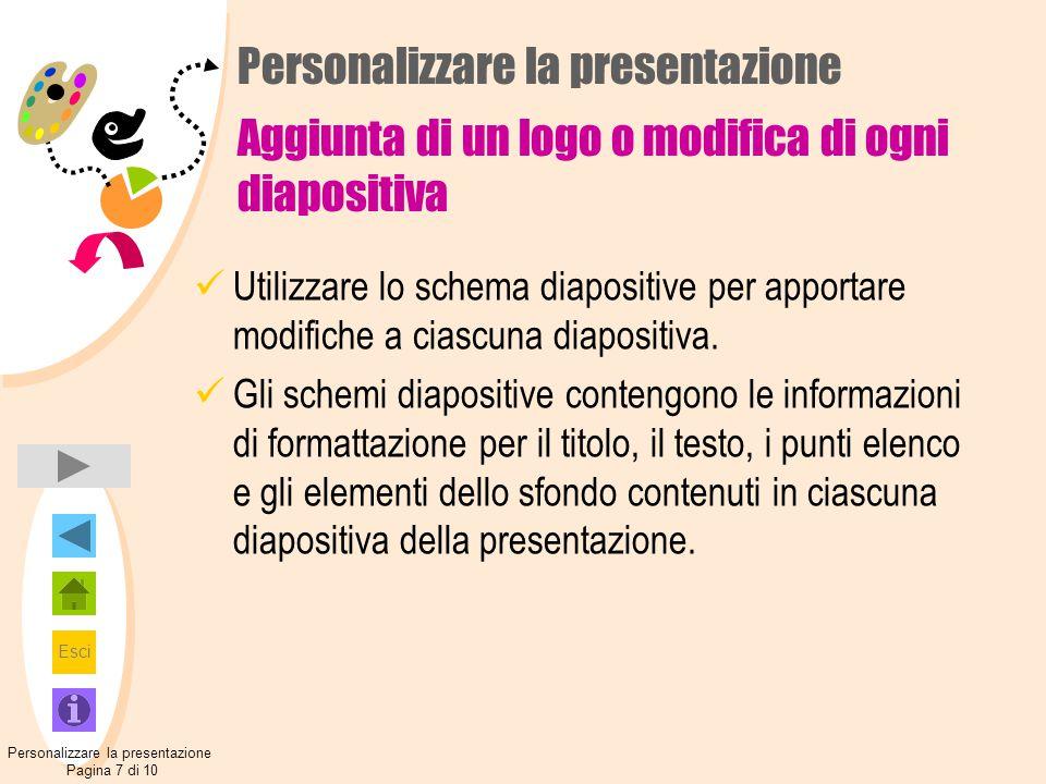 Personalizzare la presentazione Pagina 7 di 10