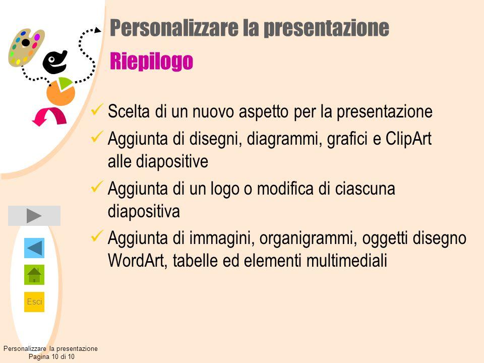 Personalizzare la presentazione Riepilogo