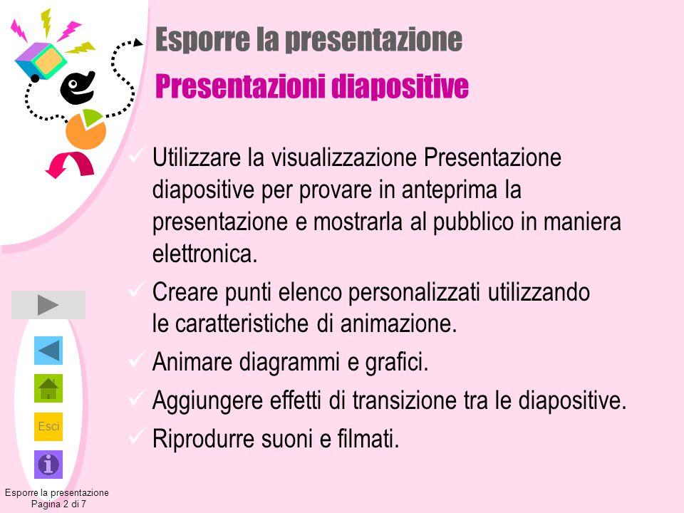 Esporre la presentazione Presentazioni diapositive