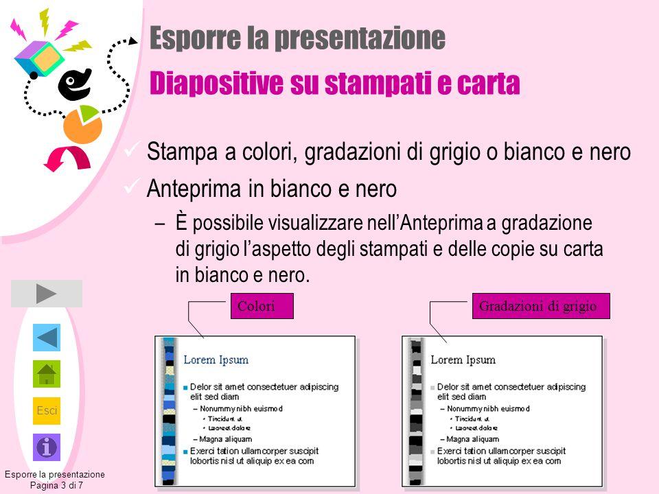 Esporre la presentazione Diapositive su stampati e carta