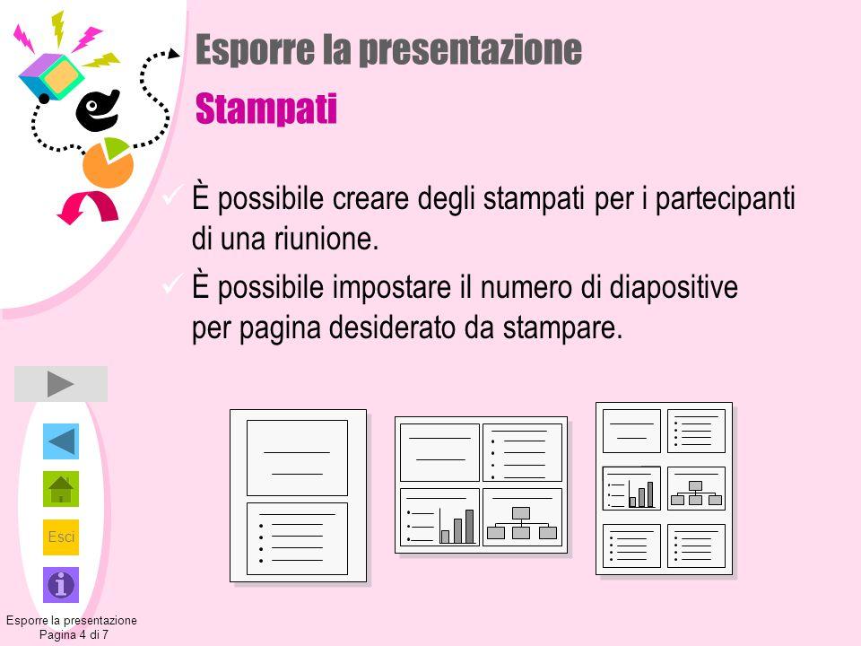 Esporre la presentazione Stampati
