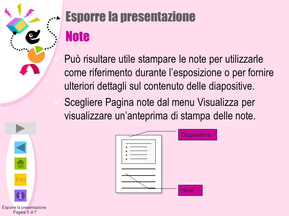 Esporre la presentazione Note