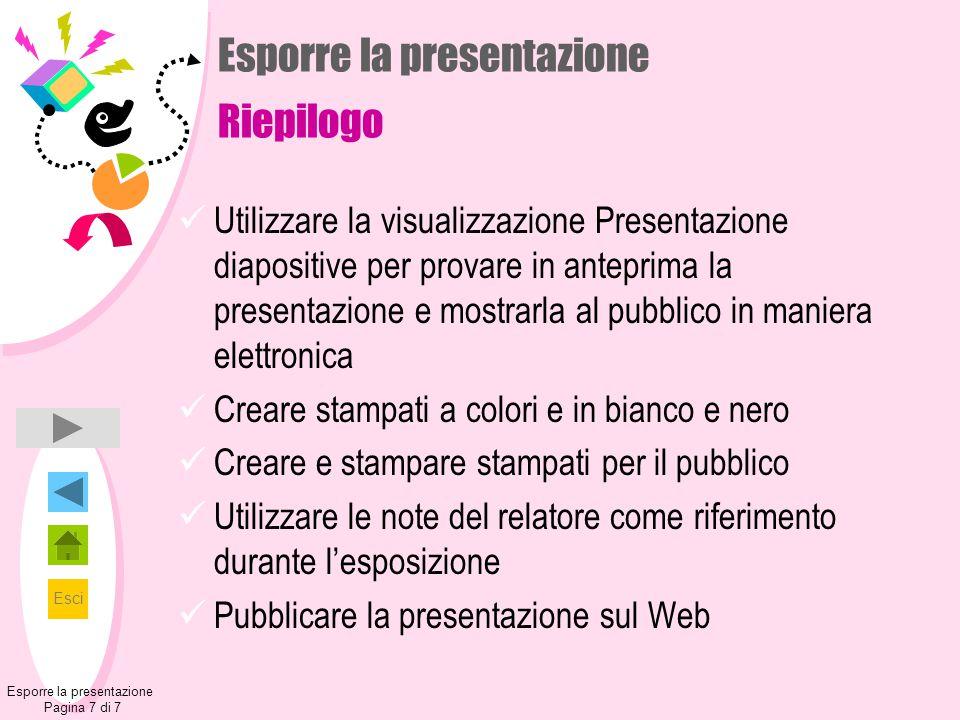 Esporre la presentazione Riepilogo