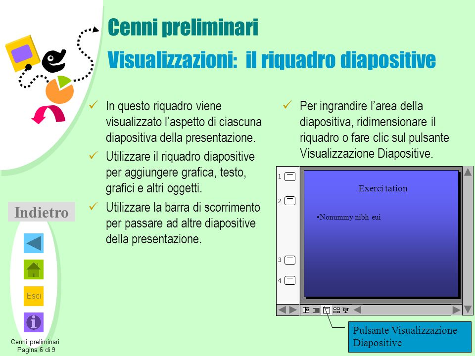 Cenni preliminari Visualizzazioni: il riquadro diapositive