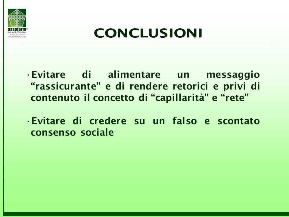CONCLUSIONI Evitare di alimentare un messaggio rassicurante e di rendere retorici e privi di contenuto il concetto di capillarità e rete
