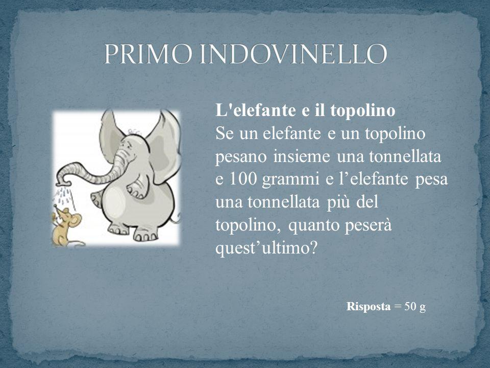 PRIMO INDOVINELLO L elefante e il topolino