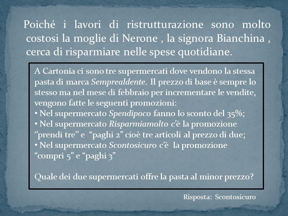 Poiché i lavori di ristrutturazione sono molto costosi la moglie di Nerone , la signora Bianchina , cerca di risparmiare nelle spese quotidiane.