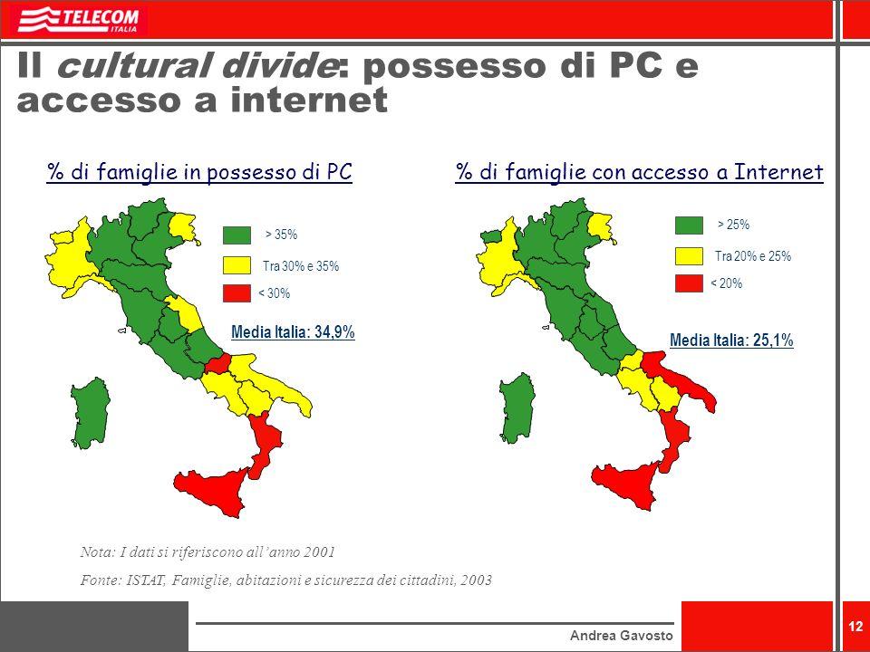 Il cultural divide: possesso di PC e accesso a internet