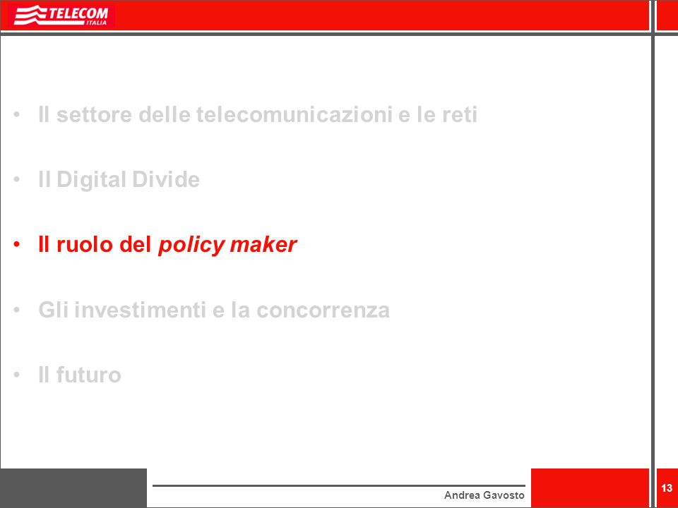 Il settore delle telecomunicazioni e le reti