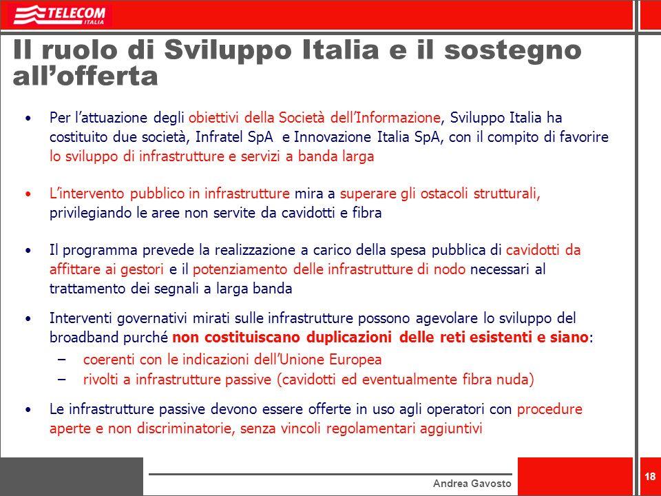 Il ruolo di Sviluppo Italia e il sostegno all'offerta