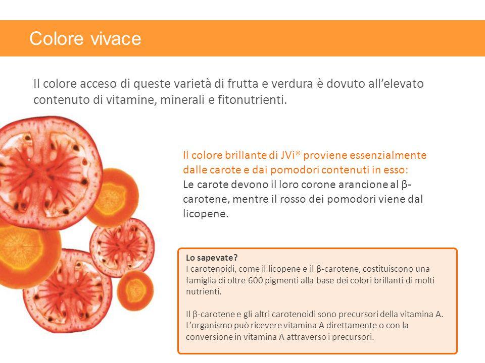 Colore vivace Il colore acceso di queste varietà di frutta e verdura è dovuto all'elevato contenuto di vitamine, minerali e fitonutrienti.