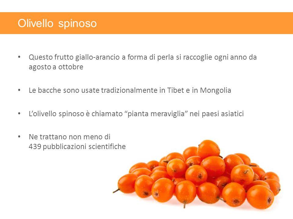 Olivello spinoso Questo frutto giallo-arancio a forma di perla si raccoglie ogni anno da agosto a ottobre.