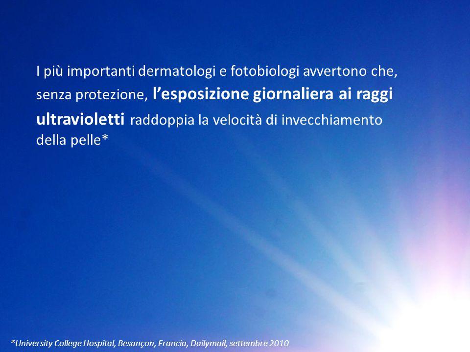 I più importanti dermatologi e fotobiologi avvertono che, senza protezione, l'esposizione giornaliera ai raggi ultravioletti raddoppia la velocità di invecchiamento della pelle*