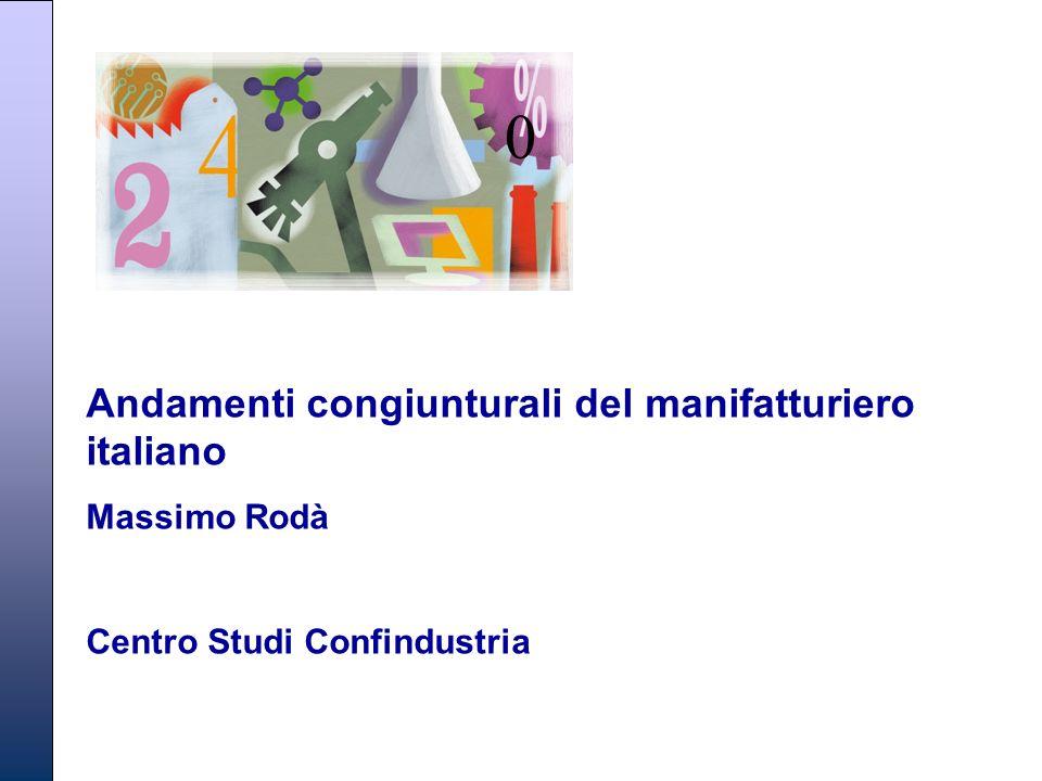Andamenti congiunturali del manifatturiero italiano