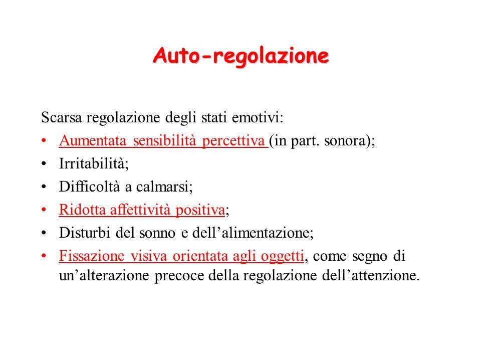 Auto-regolazione Scarsa regolazione degli stati emotivi:
