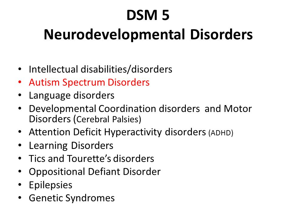 DSM 5 Neurodevelopmental Disorders