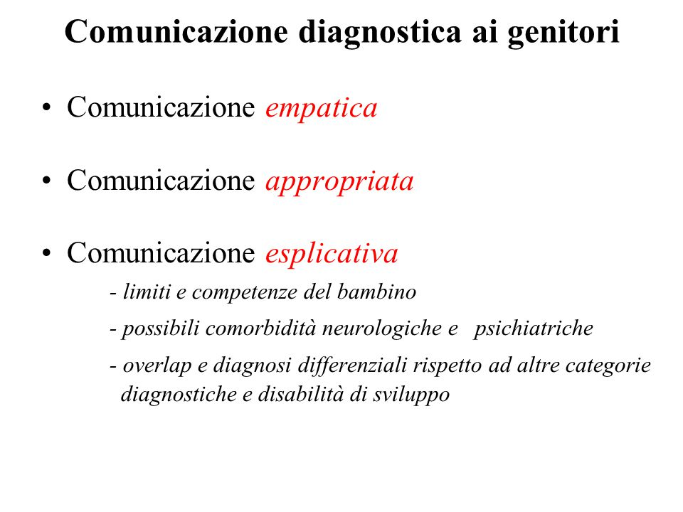 Comunicazione diagnostica ai genitori
