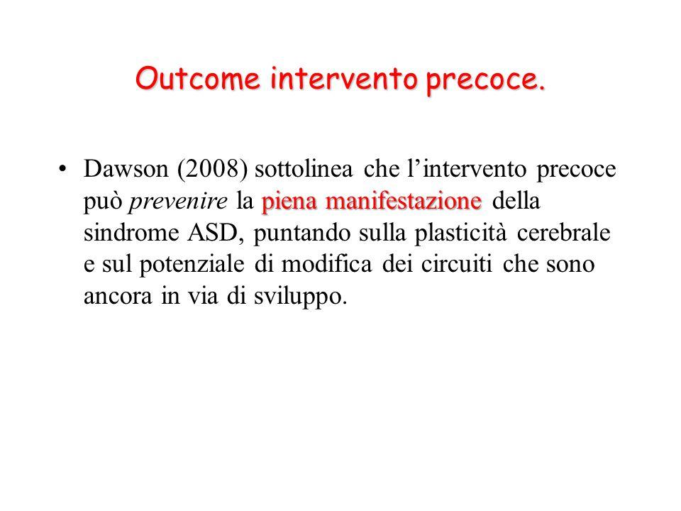 Outcome intervento precoce.