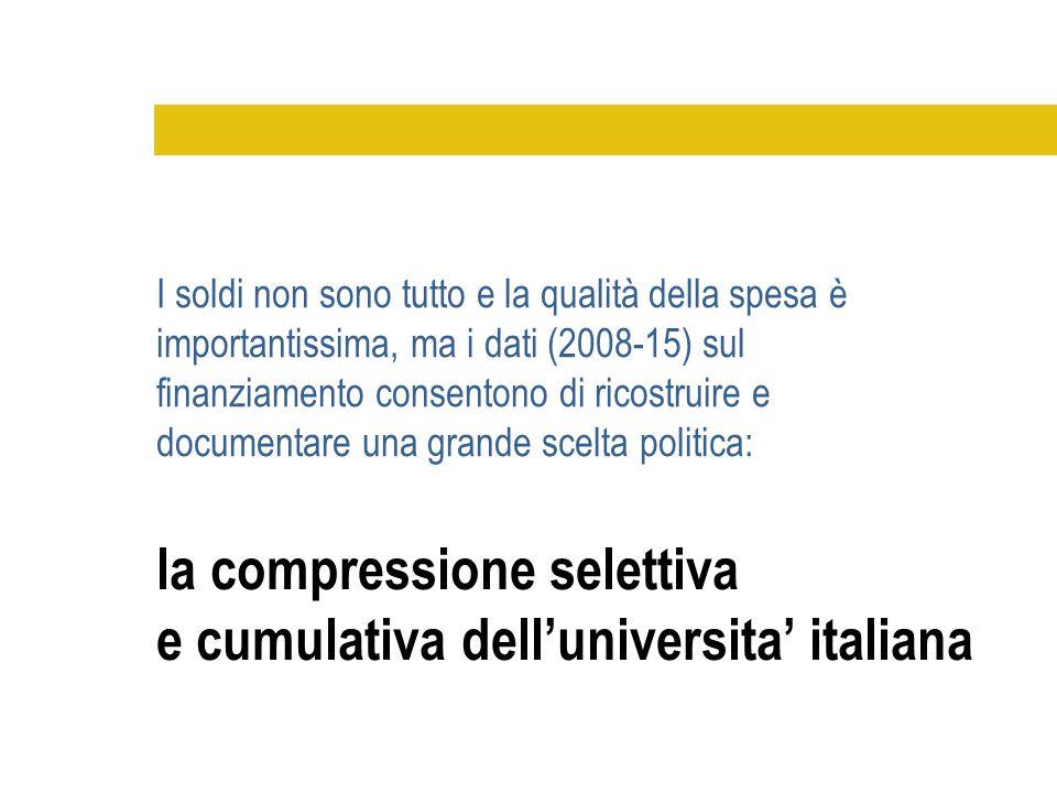 la compressione selettiva e cumulativa dell'universita' italiana