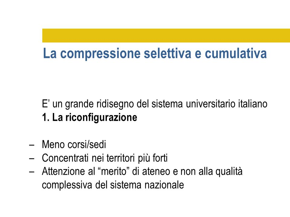 La compressione selettiva e cumulativa