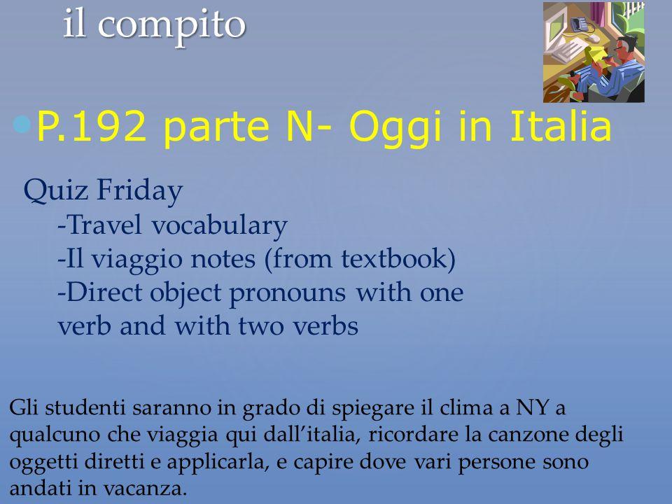 P.192 parte N- Oggi in Italia il compito