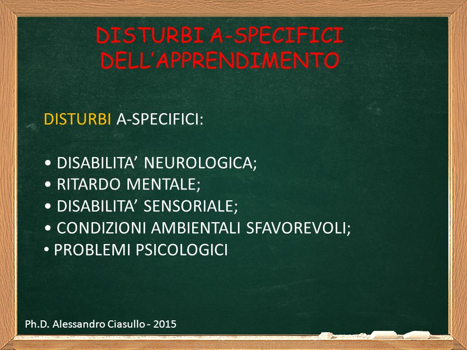 DISTURBI A-SPECIFICI DELL'APPRENDIMENTO