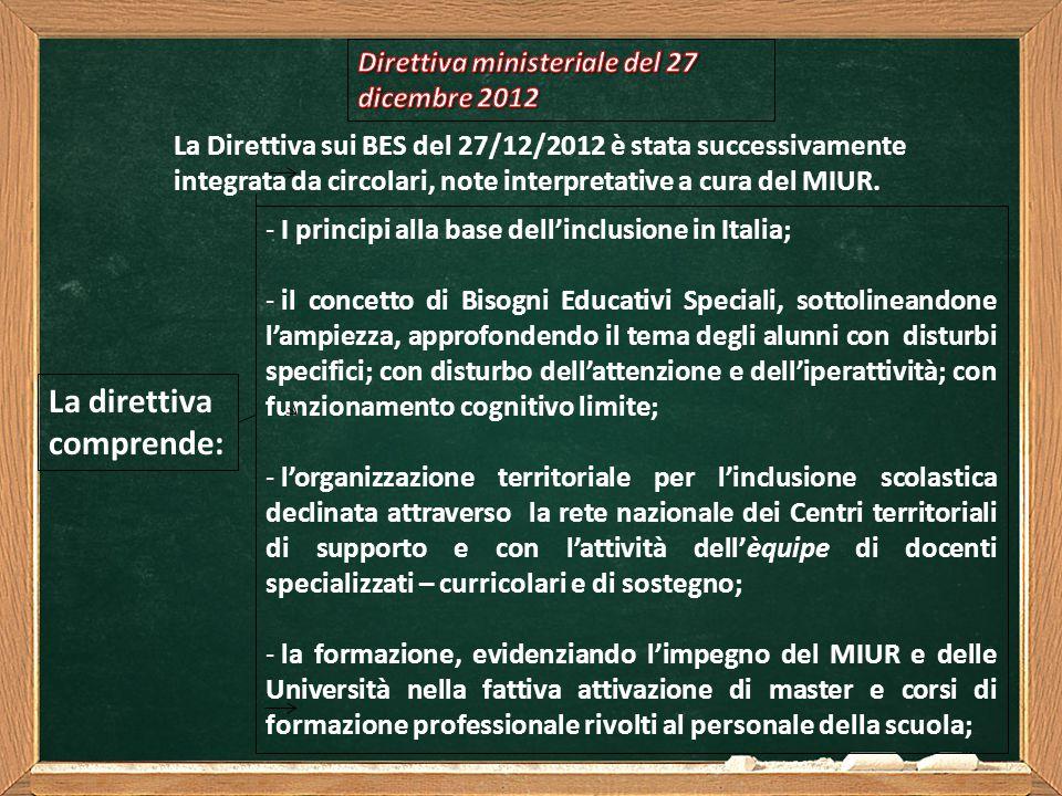 La direttiva comprende: Direttiva ministeriale del 27 dicembre 2012