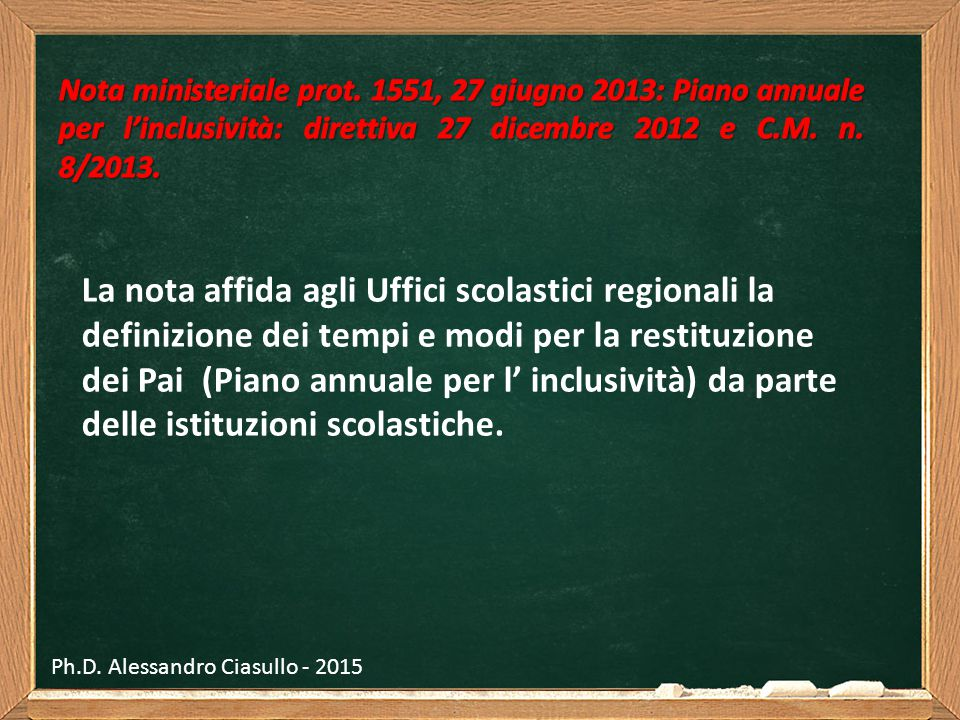 Nota ministeriale prot