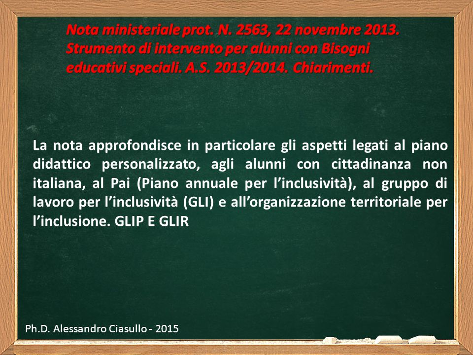 Nota ministeriale prot. N. 2563, 22 novembre 2013