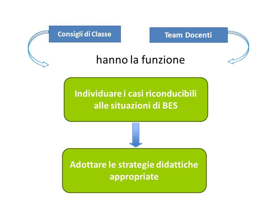 Consigli di Classe Team Docenti. hanno la funzione. Individuare i casi riconducibili alle situazioni di BES.