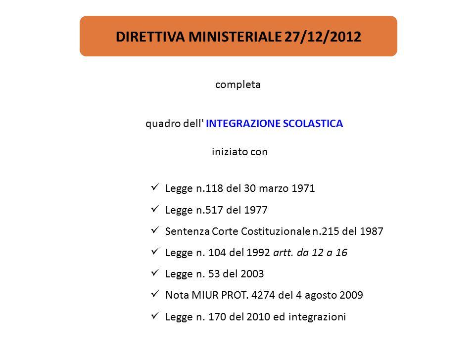 DIRETTIVA MINISTERIALE 27/12/2012
