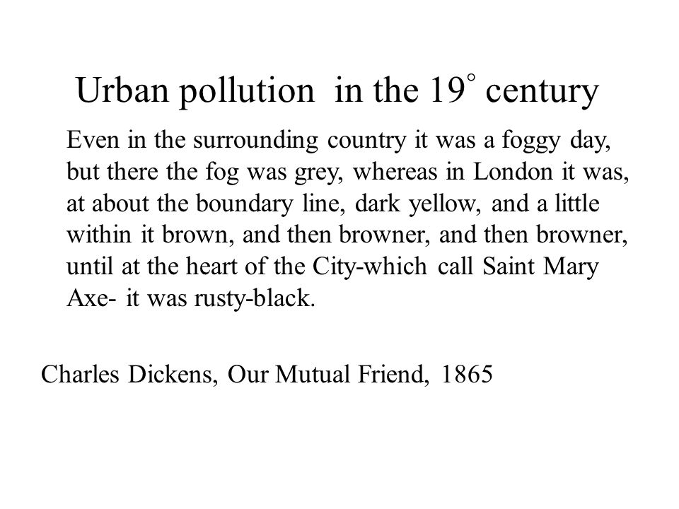 Urban pollution in the 19° century