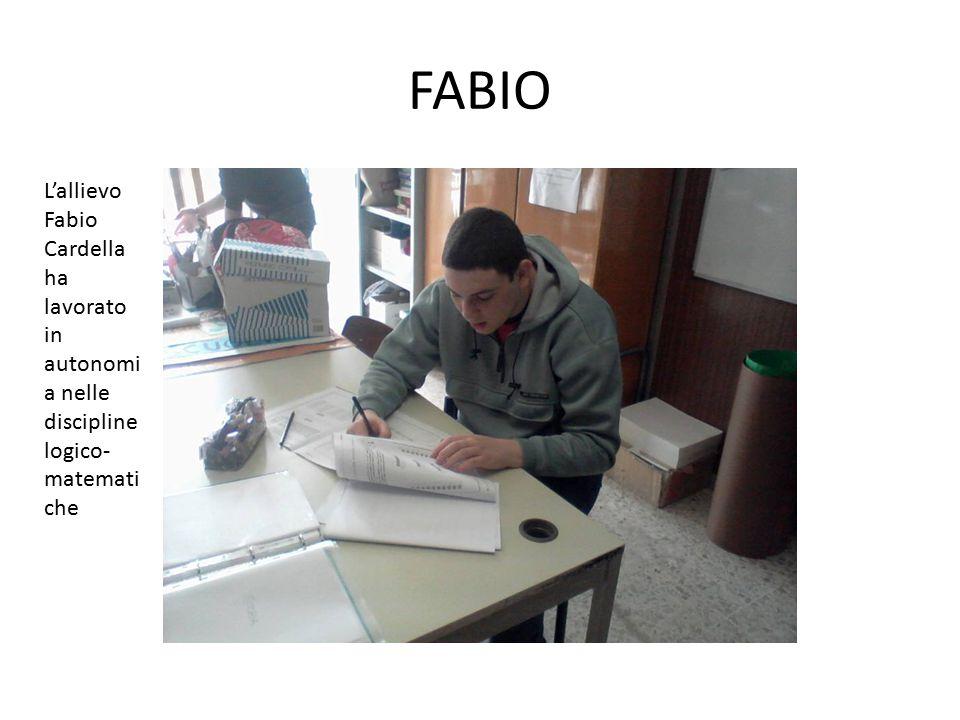 FABIO L'allievo Fabio Cardella ha lavorato in autonomia nelle discipline logico-matematiche