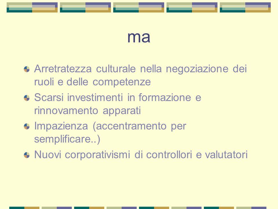 ma Arretratezza culturale nella negoziazione dei ruoli e delle competenze. Scarsi investimenti in formazione e rinnovamento apparati.