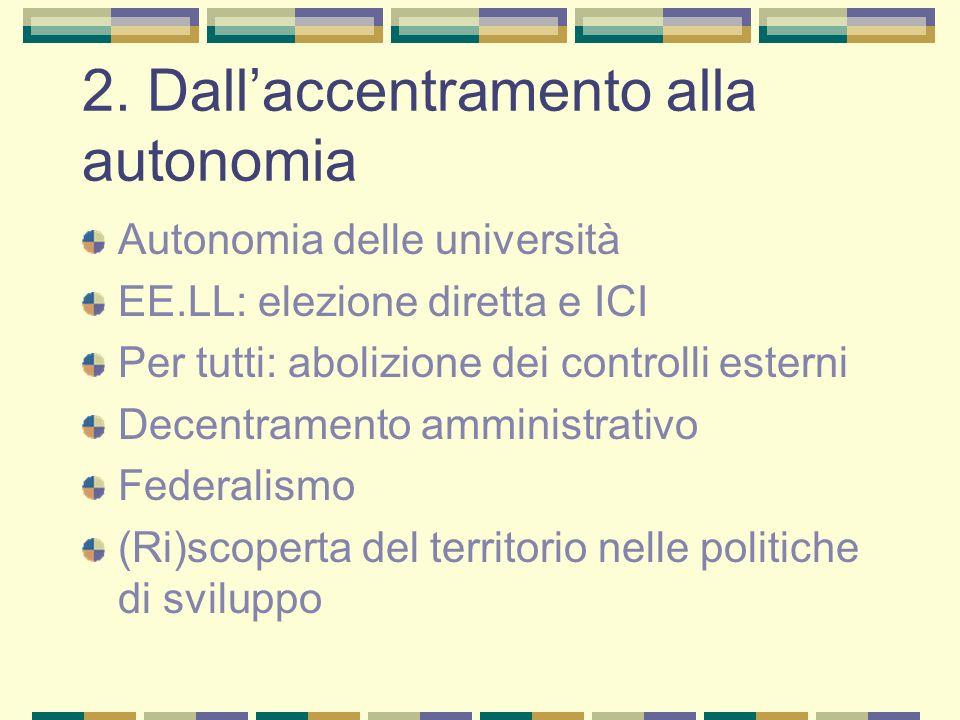 2. Dall'accentramento alla autonomia