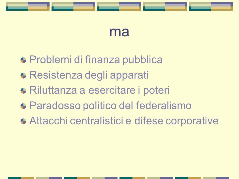 ma Problemi di finanza pubblica Resistenza degli apparati