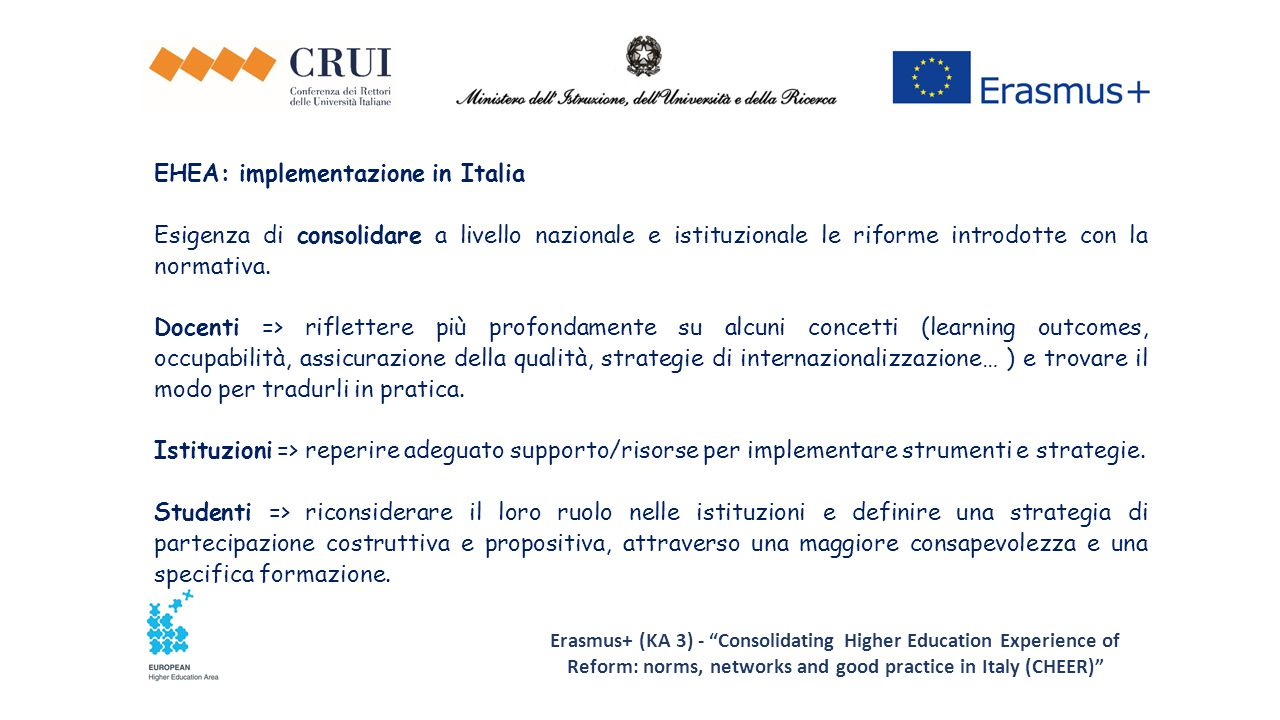 EHEA: implementazione in Italia