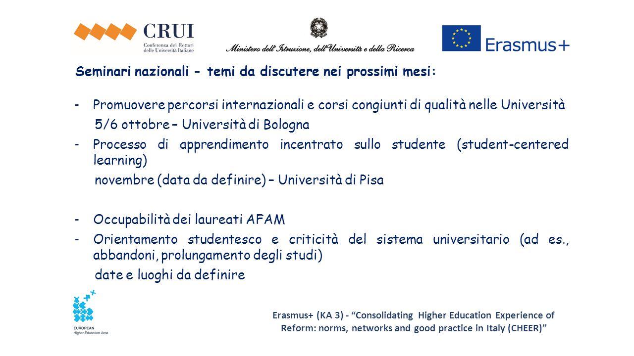 Seminari nazionali - temi da discutere nei prossimi mesi: