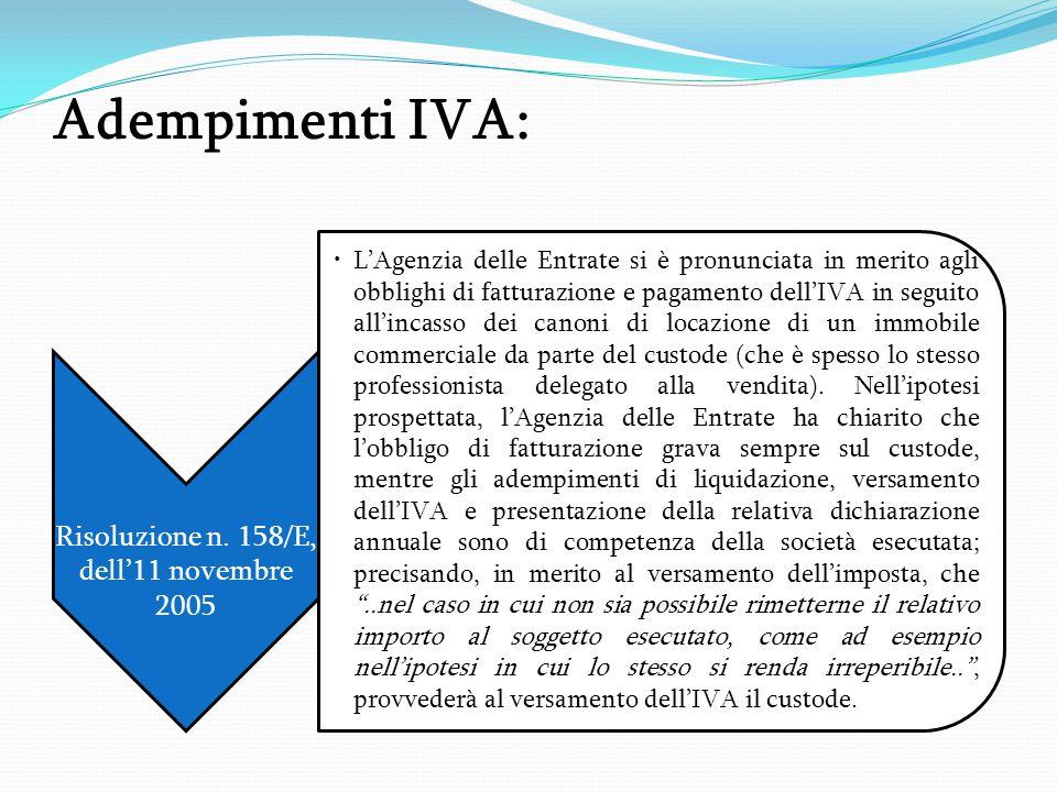 Risoluzione n. 158/E, dell'11 novembre 2005